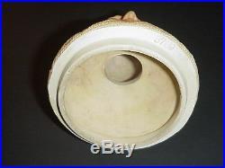 Antique German Pottery Tobacco Humidor Jar Old Man in Burlap 1890's