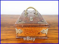 Antique German Wooden Oak Cigarette Cigar Humidor Box Brass Bound Case 1900 1910