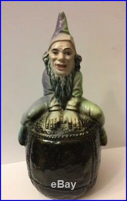 Antique Germany Majolica Gnome Elf Sitting Atop Figural Tobacco Jar Pot Humidor