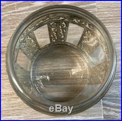 Antique Glass And German Silver Wrapped Tobacco Jar Humidor