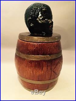 Antique Glazed Coarse Terra-cotta Tobacco Jar Of Boys Head On Large Barrel