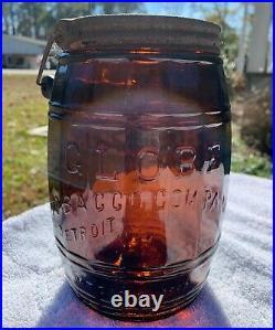 Antique Globe Tobacco Company Detroit Amber Jar With Original Bail Lid Pat 1882