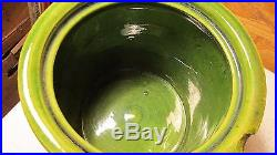 Antique Green Glaze Yellow Ware Queed Tobacco Jar Looram Humidor
