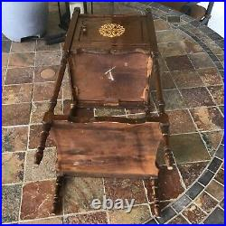 Antique H. T. Cushman  Copper-Lined 26 Wooden Smoking Stand Early 1900s Nice