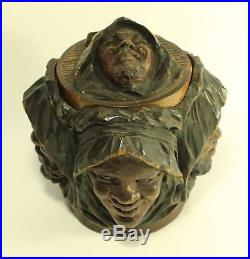 Antique Hand Carved Tobacco Wood Humidor Bearded & Arab Faces & Face Lid See Pic