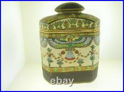 Antique Hand Painted Imperial Nippon Humidor Or Tobacco Jar Egyptian Motive Rare