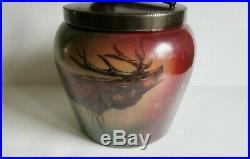 Antique Handel Lamp Co Ware HUMIDOR Tobacco Jar Elk