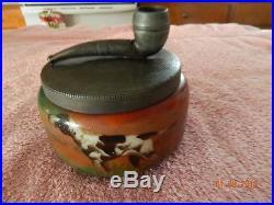 Antique Handel Lamp Co Ware Humidor Tobacco Jar Hunting Dog Artist Signed Bauer