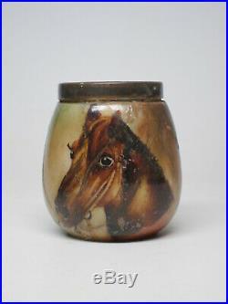 Antique Handel Lamp WARE Humidor Tobacco Jar Ashtray Pipe Stand Set Horse Glass