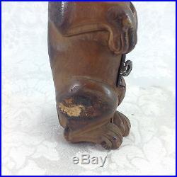 Antique Hinged Box Pipe Holder Dog Figural Bulldog Boxer Wood Pug