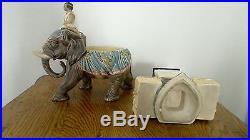 Antique Humidor Cigar Tobacco Jar Germany 1880 Majolica marked EICHWALD Elephant