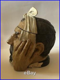 Antique Johannn Maresch Humidor Tobacco Jar Toothache Man Rare Dentist Czech