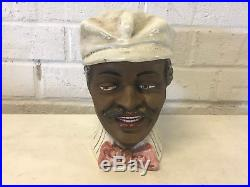 Antique Likely Austrian Pottery Blackamoor Black Man in Hat Tobacco Humidor Jar