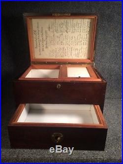 Antique Mahogany Cigar Humidor presented to C. K. Davis Leominster Mass