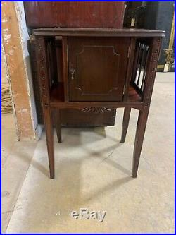 Antique Mahogany Smoke Stand Table Tobacciana Cigar humidor chest
