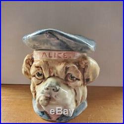 Antique Majolica Bulldog Tobacco Jar Humidor w Cigar Hat ALICE some flaws