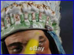 Antique Majolica Proud American Indian Chief Head Tobacco Jar Humidor