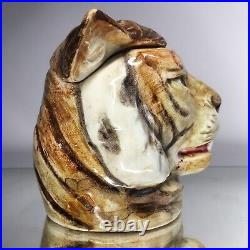 Antique Majolica Tiger Humidor Early European Pottery Tobbacciana German Austria