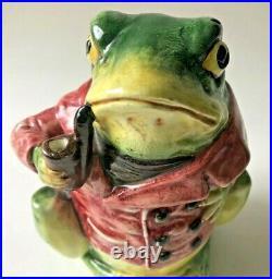 Antique Majolica Tobacco Humidor Jar Frog Smoking A Pipe 6 1/2