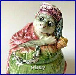 Antique Majolica Tobacco Humidor Monkey On A Melon 5 1/2