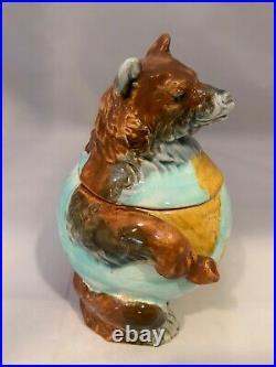 Antique Majolica Tobacco Jar With A Bear
