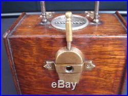 Antique Oak Cigar Box/Dispenser Coal box shape, shovel cigar cutter on back c1900