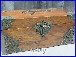 Antique Oak Ornate Brass Metal Lined Cigar Humidor Box w Key Victorian