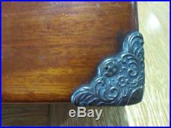 Antique Old Cigar Cigars Locking Tobacco Humidor Wood Box Silver Plated Mounts