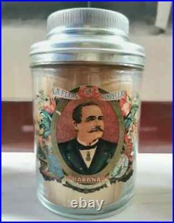 Antique Original JAR CIGAR HUMIDOR FLOR HENRY CLAY Havana Cuba Label Art empty