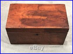 Antique Primitive early 19th C Wood Cigar Humidor Copper Insert Tea Box Caddy