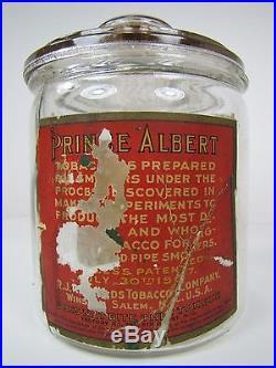 Antique Prince Albert Glass Humidor Pipe & Cigarette Tobacco Factory No 256 N. C