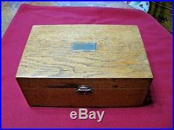 Antique Quarter Sawn Oak Cigar Humidor-Oak and Milk Glass-no key