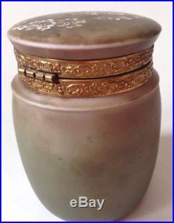 Antique Rare Nakara Cigar Jar Humidor C F Monroe Wave Crest Handpainted Glass