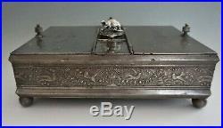 Antique Rogers Smith Meriden Silverplate Humidor Box Victorian Rat Birds 1881