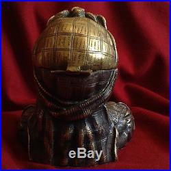 Antique Silver Bronze Pipe Tobacco Box Humidor Beggar Child Lid Secret Hide