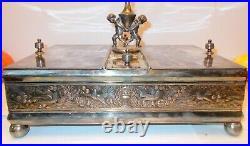 Antique Silver HUMIDOR Box Case CHERUBS ANGELS Tobacco Cigars Birds Florals