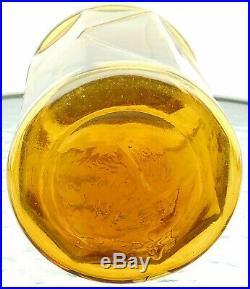Antique Small Tobacco Jar Wm S Kimball Yellow Amber Hand Ground Lip Exc