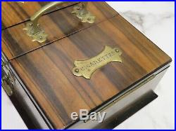 Antique Smokers Humidor Box Cigars Cigarettes Matches Zebra Wood Key