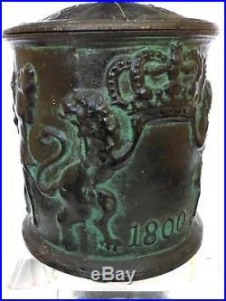 Antique Sweden Iron Humidor Tobacco Jar