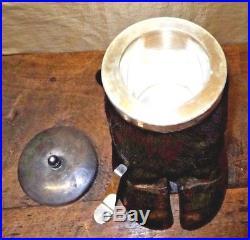 Antique Taxidermy Buffalo Hoof Tobacco Jar Humidor Silver Plate Lid Scoop