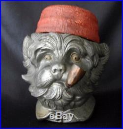 Antique Terra-cotta Humidor SCOTTIE DOG Wearing Fez