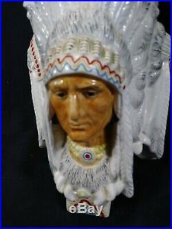 Antique Three Faced Chief Tobacco Jar/humidor Majolica Potteryfree Shipping