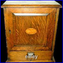 Antique Tigar Oak Humidor Marquetry Smoker's Cabinet, Chest, Holds Pipes & More