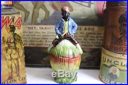 Antique Tobacco Jar Majolica Black Americana Boy Figure on Watermelon Humidor