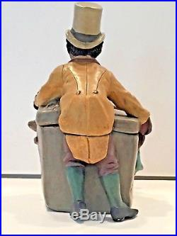 Antique Tobacco Jar With Incredible Monkey In A Box