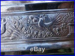 Antique Victorian Cigar Humidor Meriden Silver plate Two Birds Design