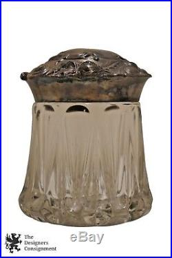 Antique Victorian Cut Glass Tobacco Humidor Sterling Repousse Storage Cigar Jar