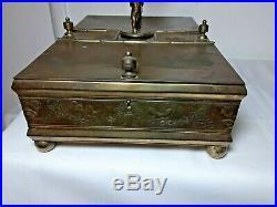 Antique Victorian Humidor Cigar box Cherub Putti Figural Rogers Smith Meriden