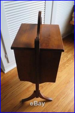 Antique Vintage Cigar Humidor Ashtray Stand Box Tin Lined Man Cave Tobacco