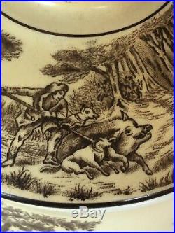 Antique Vtg Blue Boar Tobacco Jar Lid Brown Transferware Humidor Horse Carriage